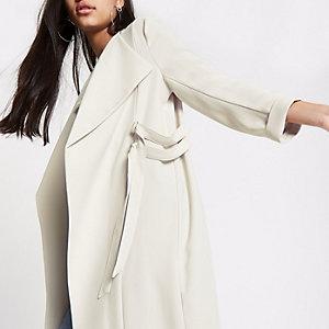 Cream D-ring duster coat