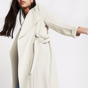 Cream D-ring duster coat