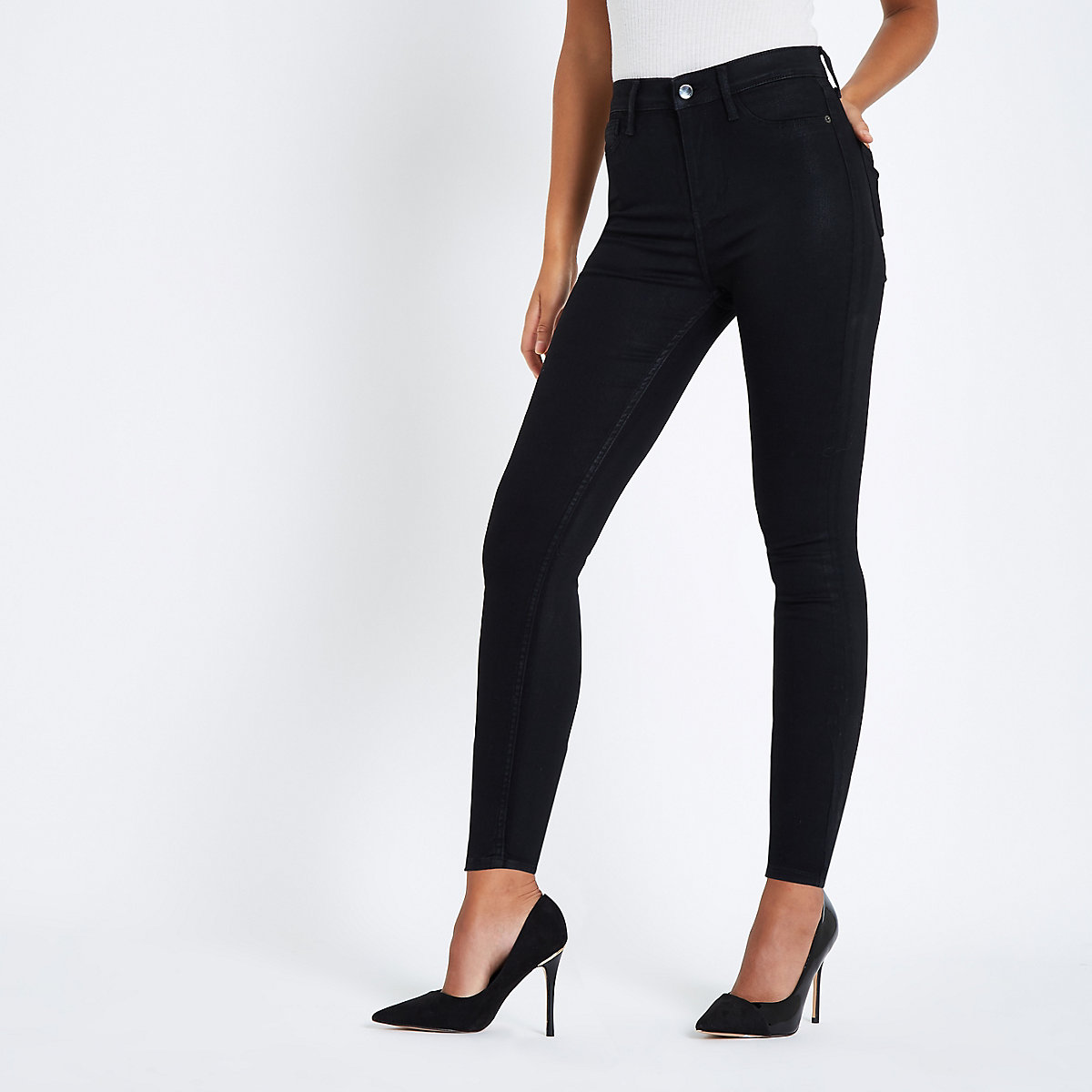 Harper - Zwarte enkellange skinny jeans met coating