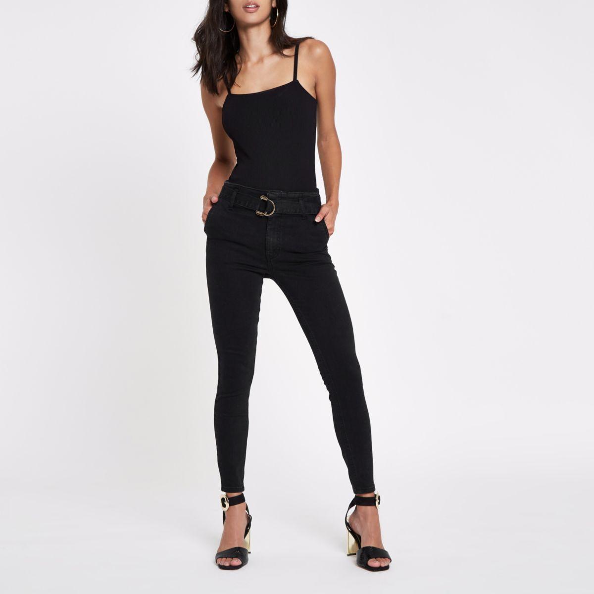 Black Harper super skinny belted jeans