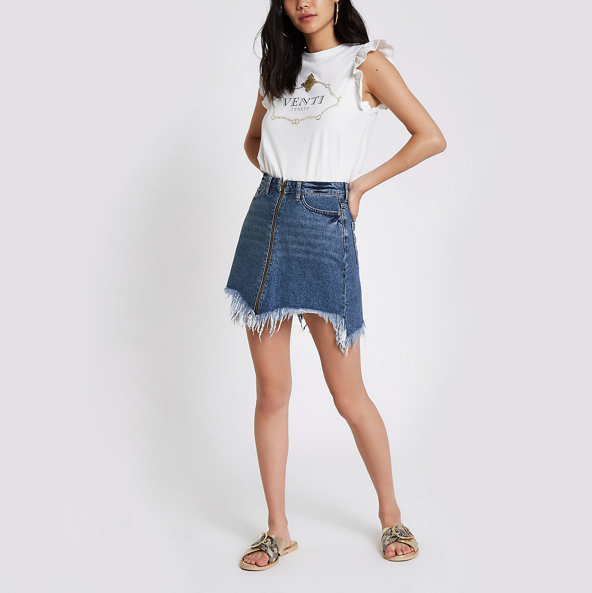 Blue zip front frayed hem denim mini skirt