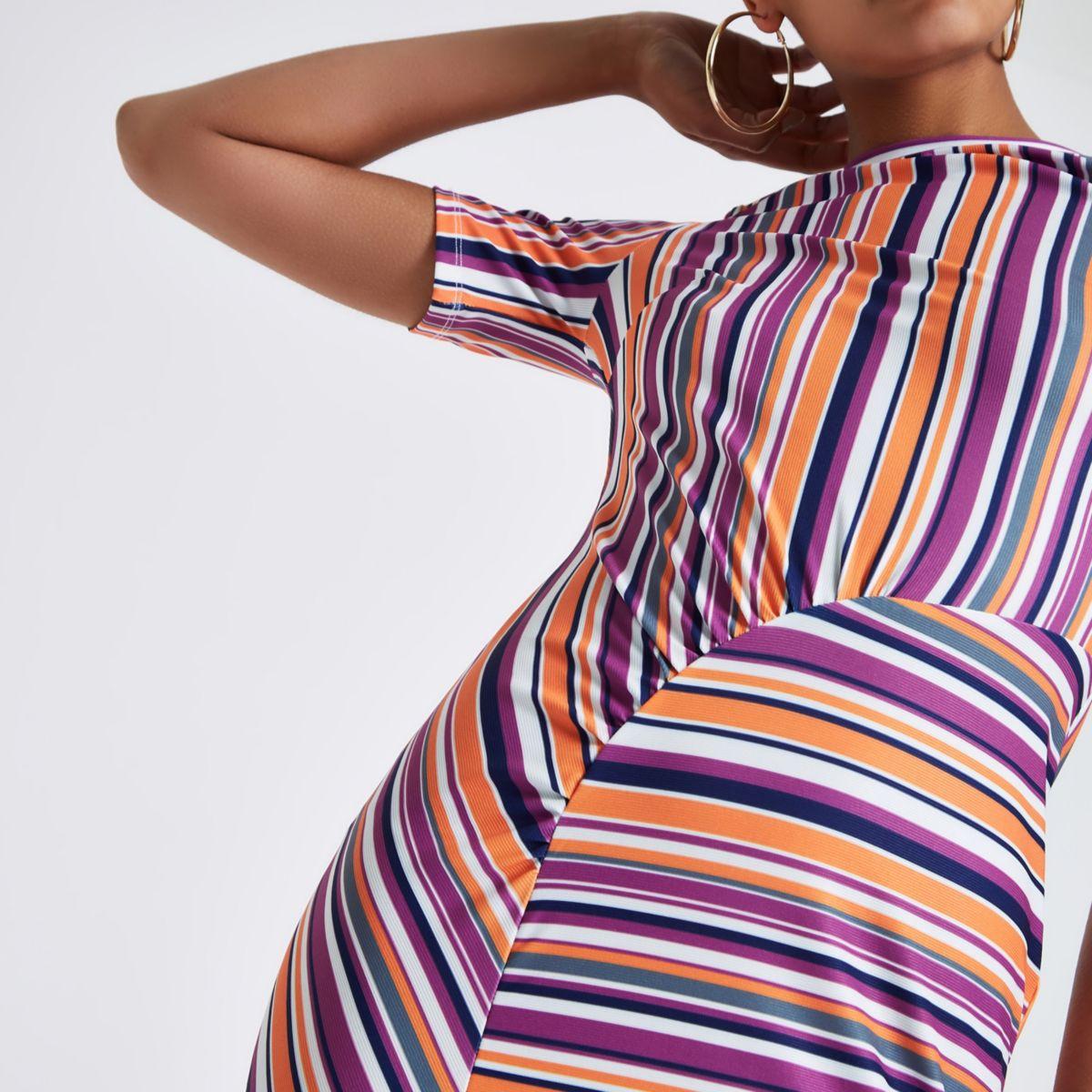 Orange stripe ruched bodycon mini dress