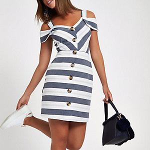 Grijze gestreepte mini-jurk in bardotstijl met knopen voor