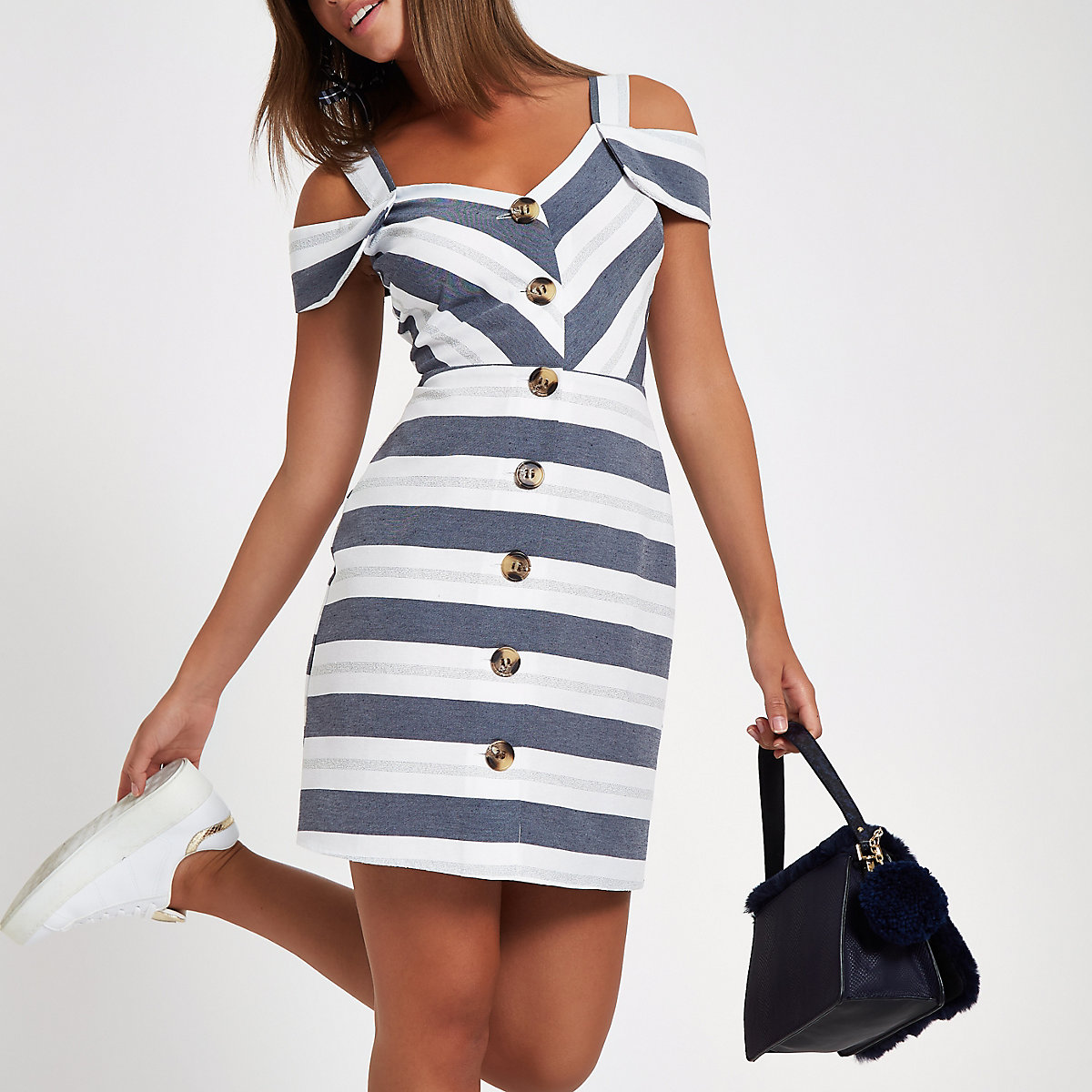 Grey stripe button front bardot midi dress