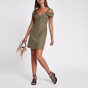 Khaki button through bardot midi dress