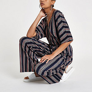 Navy stripe plisse V neck jumpsuit