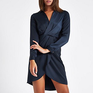 Navy plunge long sleeve shirt dress