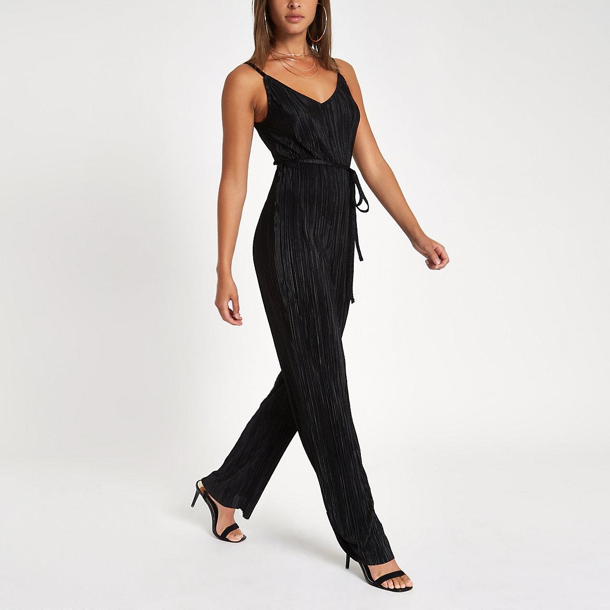 Black plisse wide leg cami jumpsuit