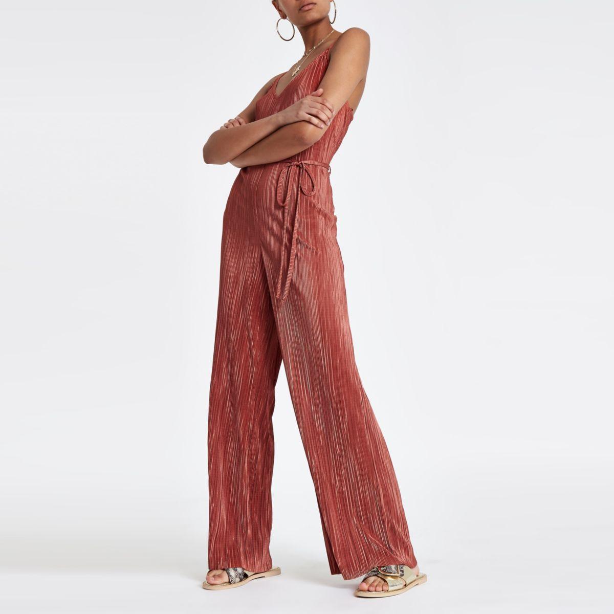 Pink plisse wide leg cami jumpsuit