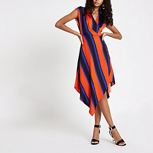 Orange stripe wrap front midi dress