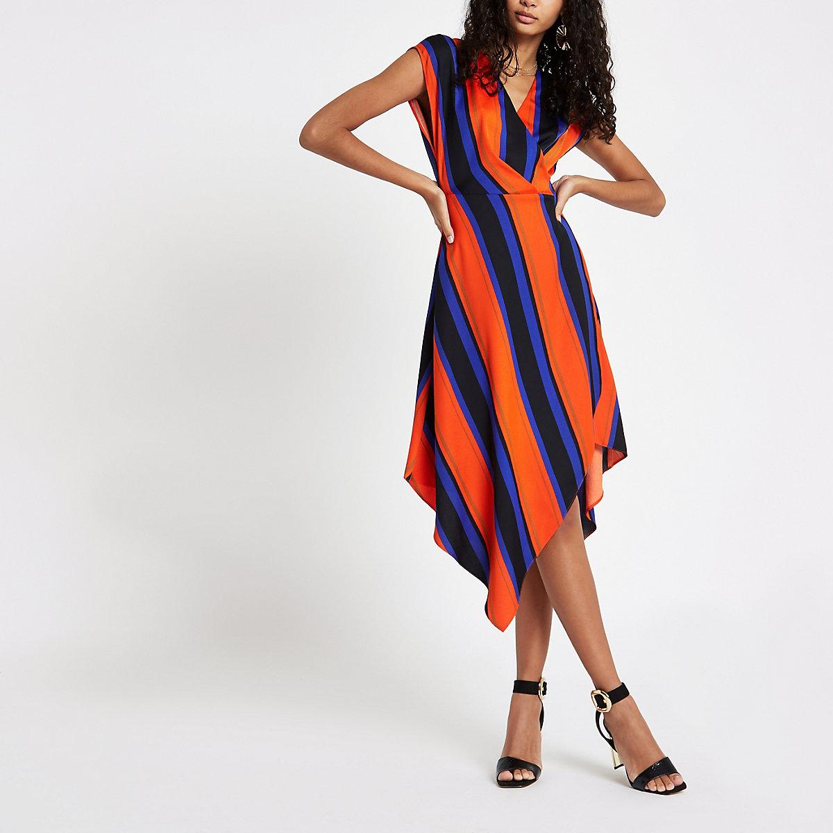 30174c4dd6 Orange stripe wrap front midi dress - Swing Dresses - Dresses - women