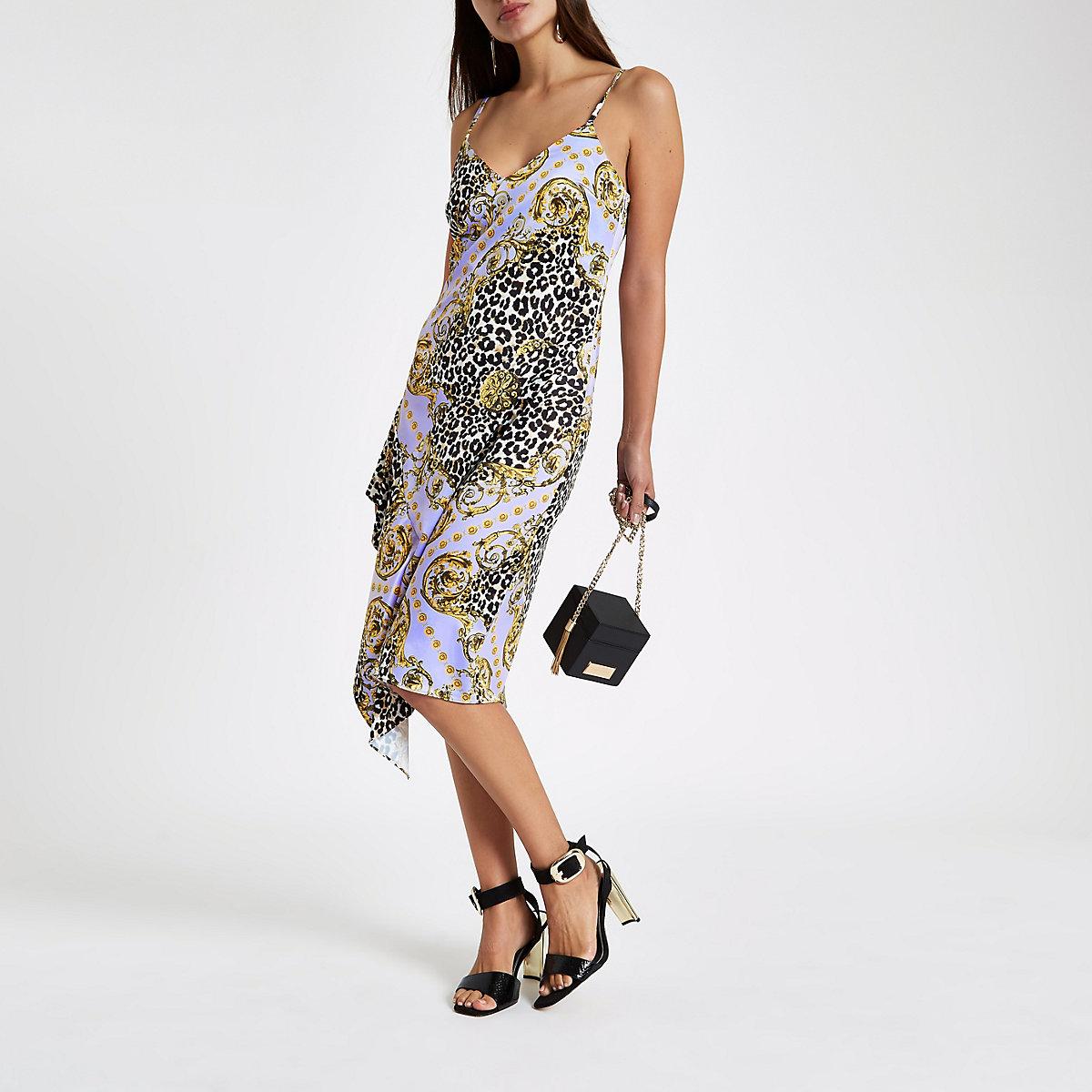 Lilac leopard print satin frill slip dress