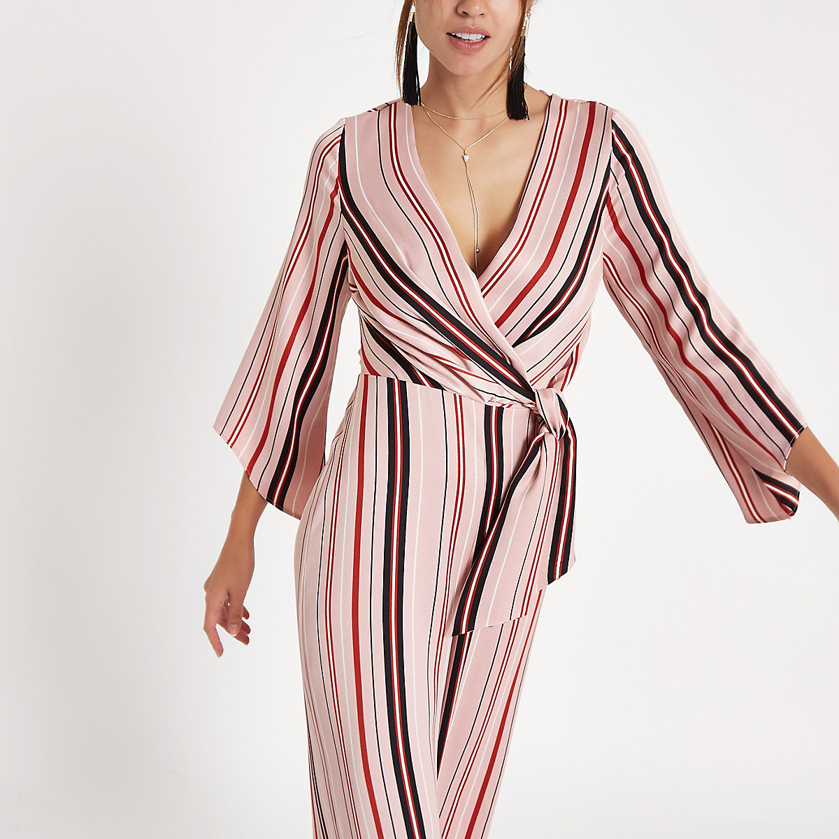 Pnk stripe print wrap tailored leg jumpsuit