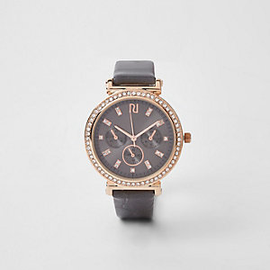 Dark grey gold rhinestone croc embossed watch