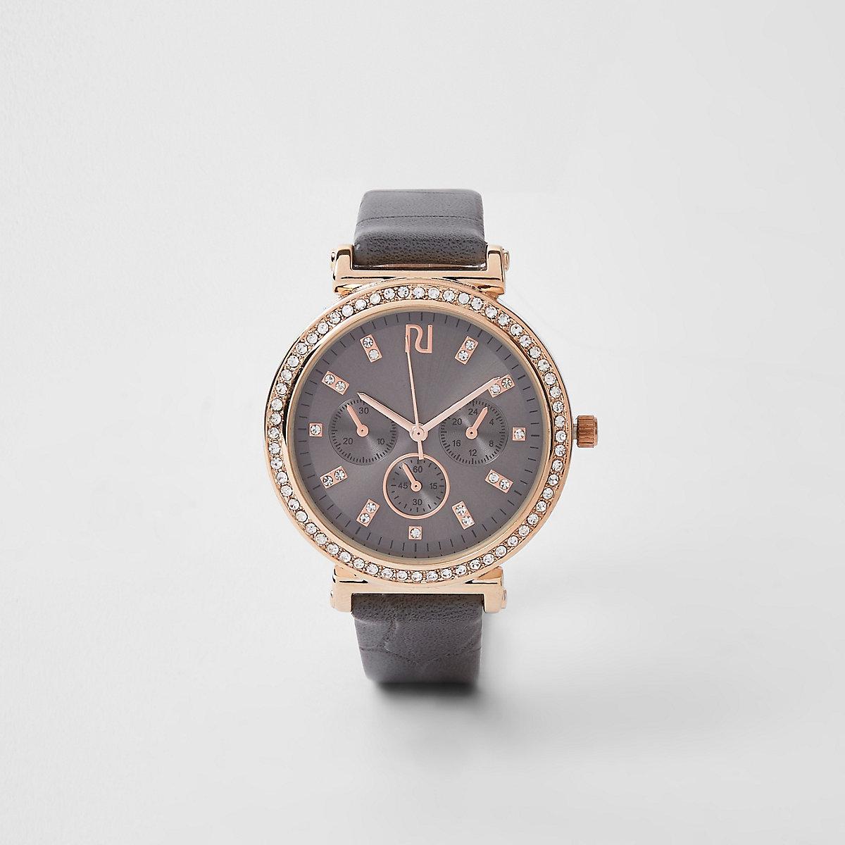 Dark grey gold rhinestone croc embossed watch