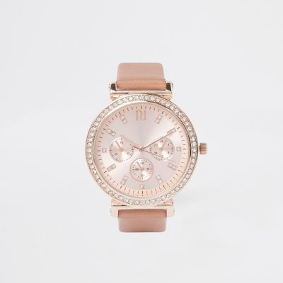 Pink Rose Gold Diamante Croc Embossed Watch by River Island