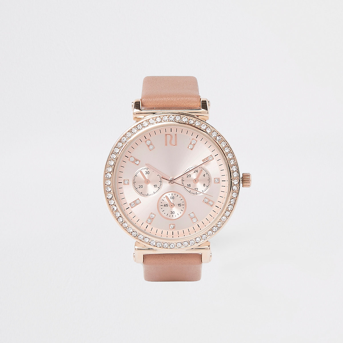 Pink rose gold rhinestone croc embossed watch
