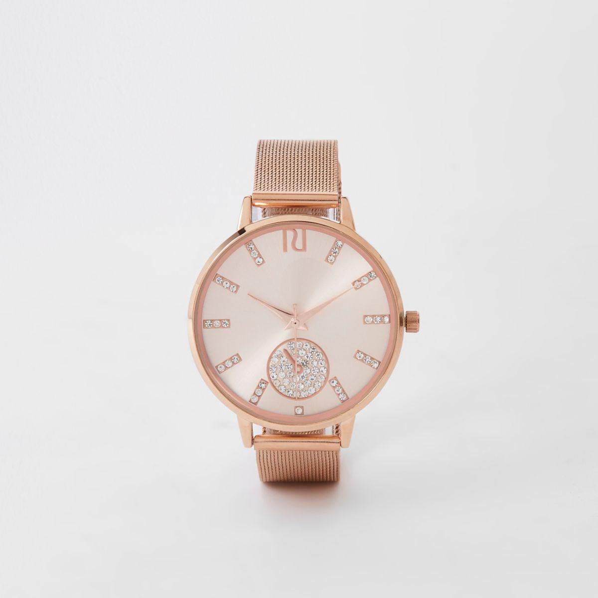 Rose gold diamante mesh strap round watch