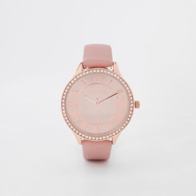 Pink Rose Gold Tone Diamante Round Face Watch by River Island