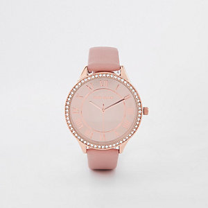 Pink rose gold tone rhinestone round face watch