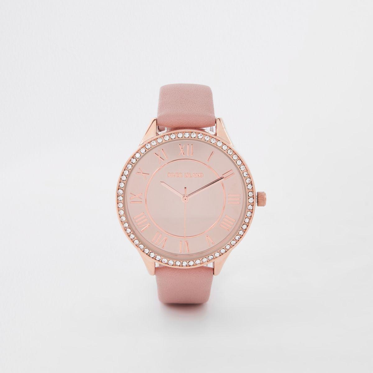 Pink rose gold tone rhinestone round face watch