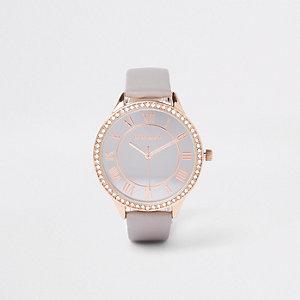 Grey diamante paved thin bezel watch
