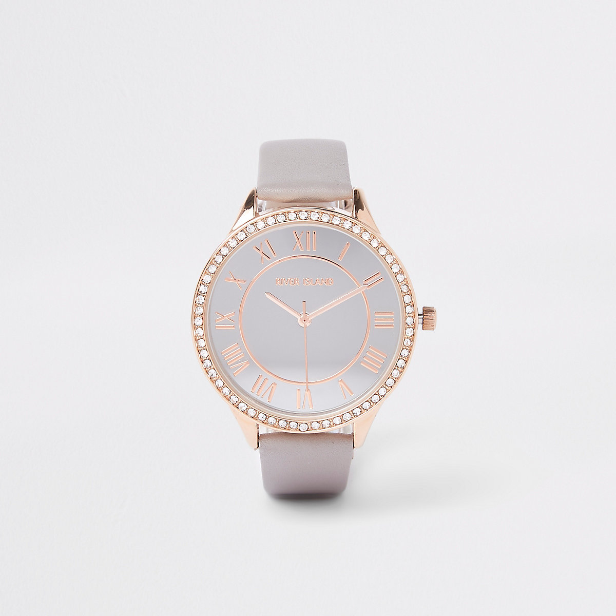 Grey diamante paved thin bezel watch