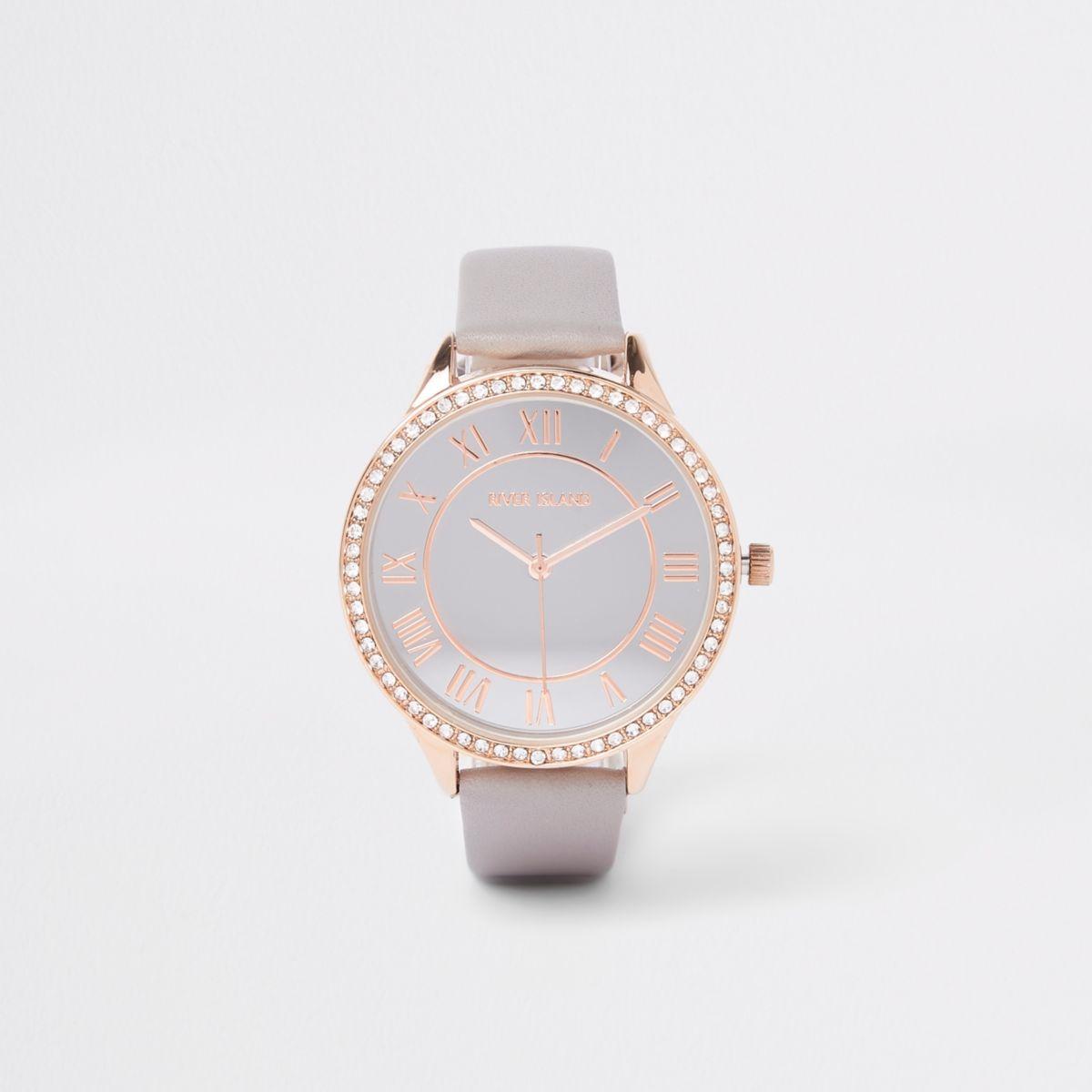 Grey rhinestone paved thin bezel watch