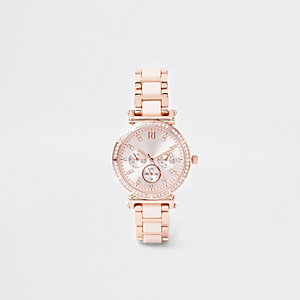 Pink rose gold tone rhinestone chain link watch