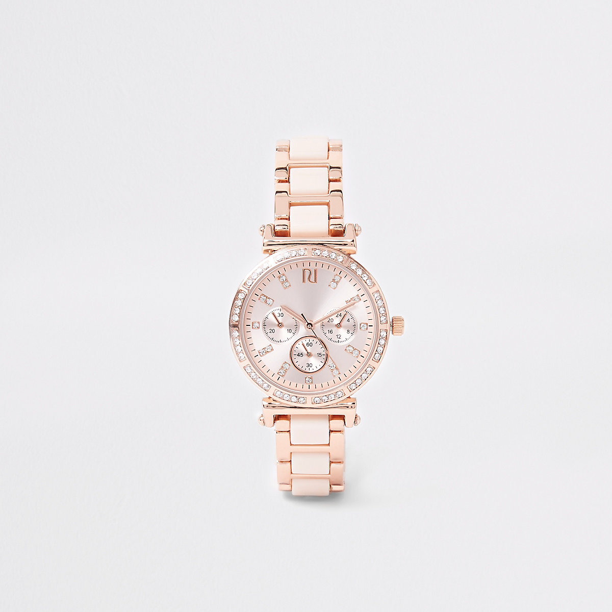 Pink rose gold tone diamante chain link watch