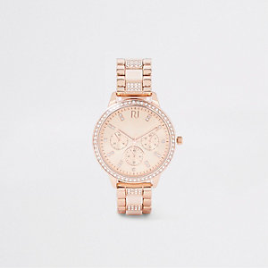 Rose gold rhinestone chain link strap watch