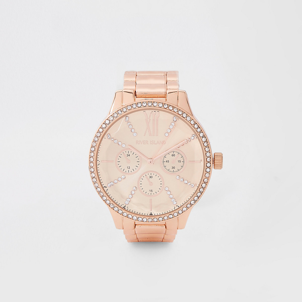 Rose gold color chain link strap watch