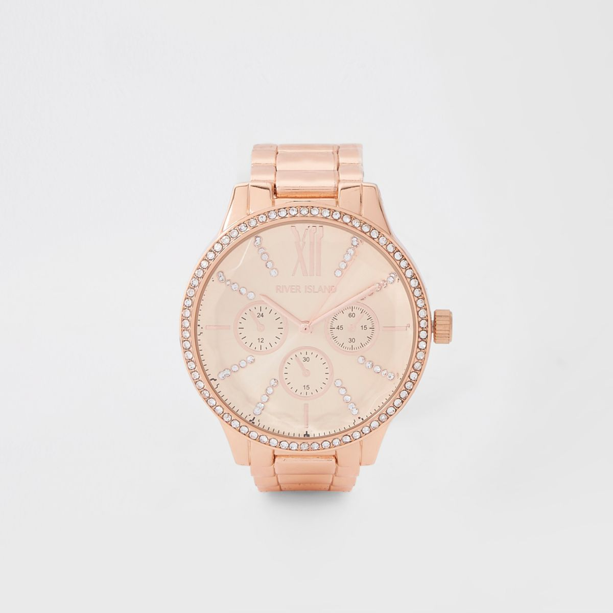 Rose gold tone chain link strap watch