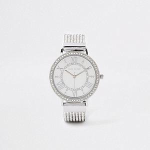 Silver tone diamante encrusted strap watch