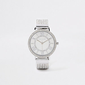 Armbanduhr in Silber mit Strassverzierung