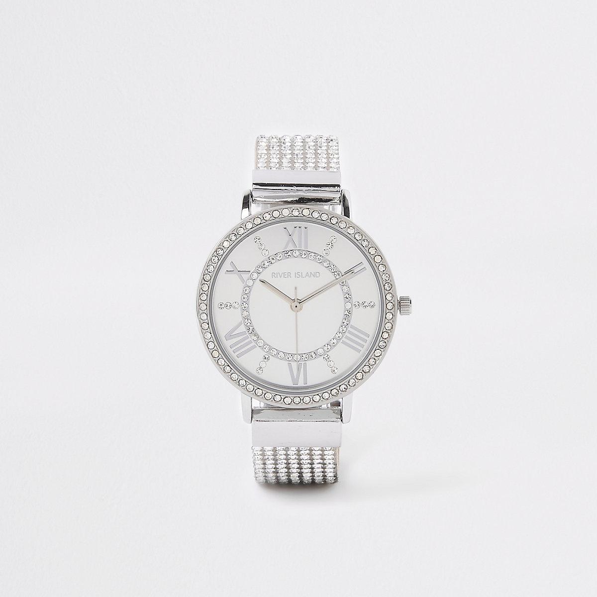 Silver colour diamante encrusted strap watch