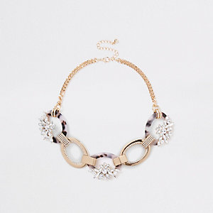 Gold tone oval interlinked diamante necklace