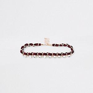 Collier ras-de-cou rouge foncé à chaîne orné de pierres fantaisie