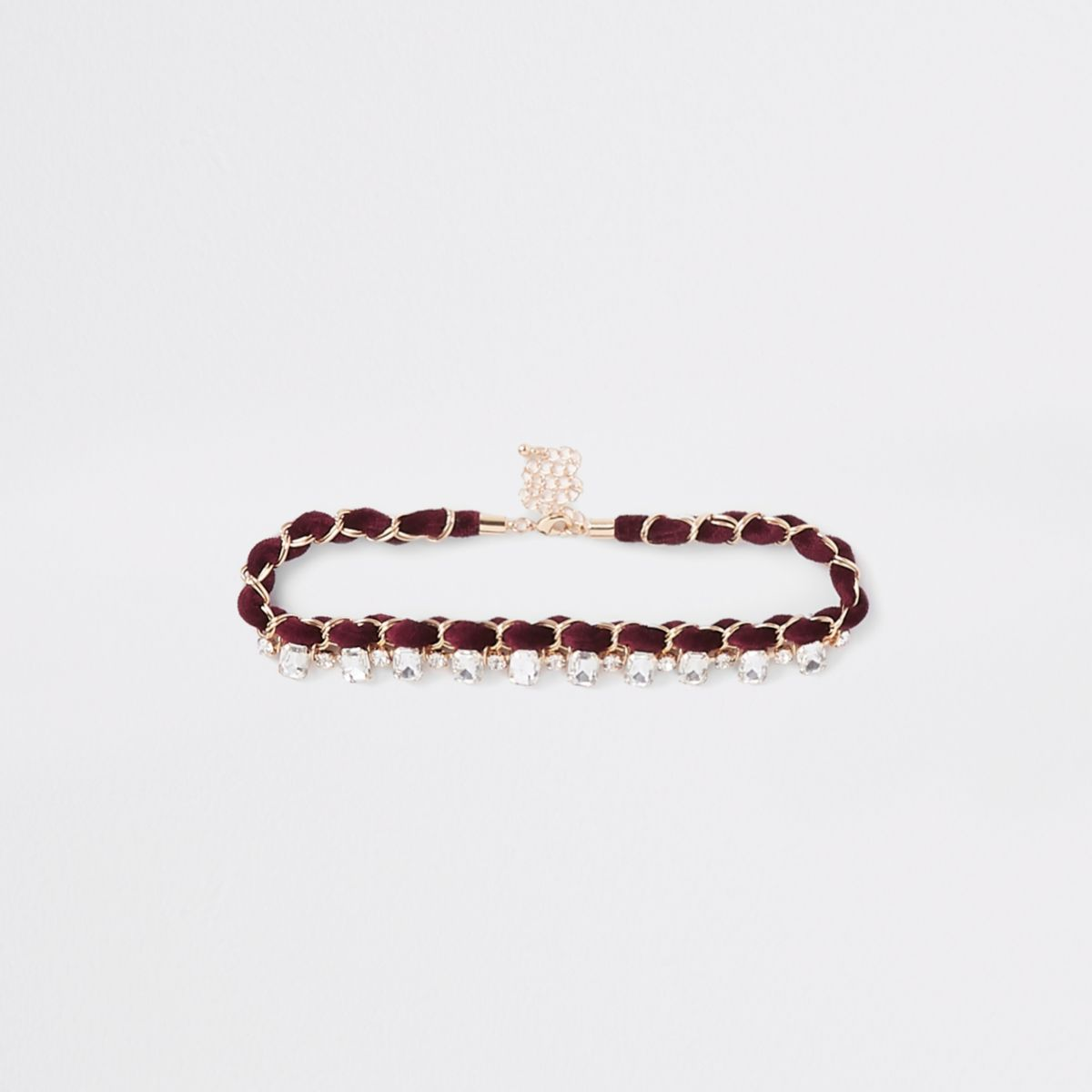 Dark red jewel embellished chain choker
