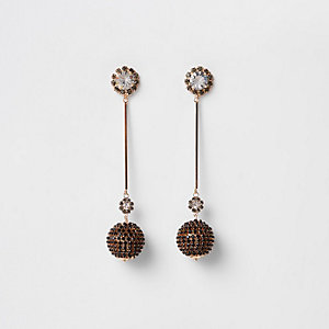 Gold tone cup chain ball drop earrings