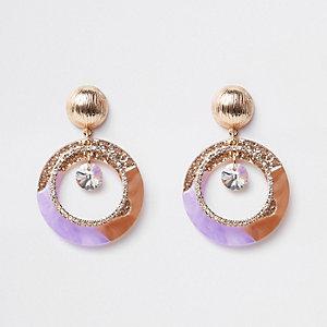 Purple glitter rhinestone drop earrings