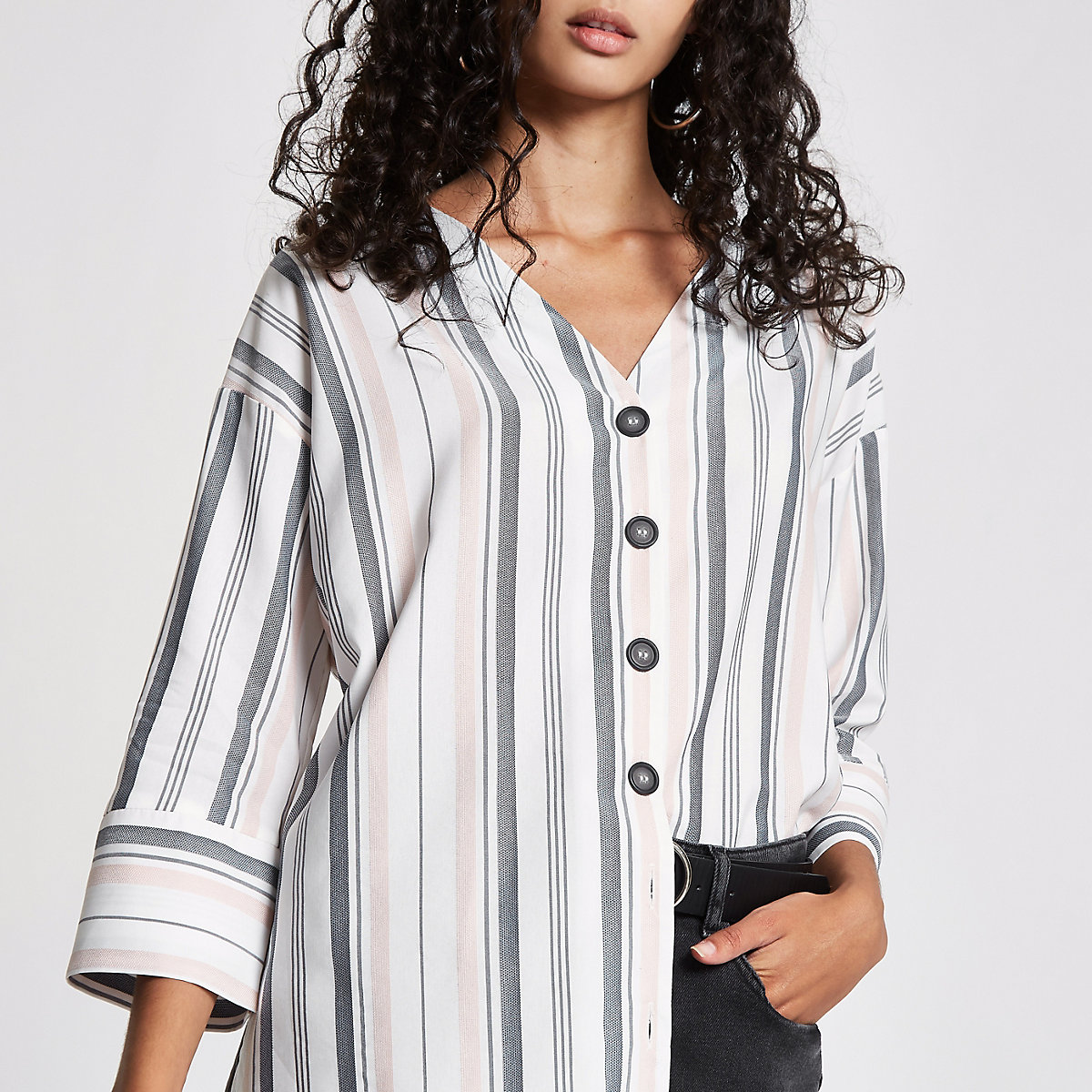 White stripe button front bar back blouse