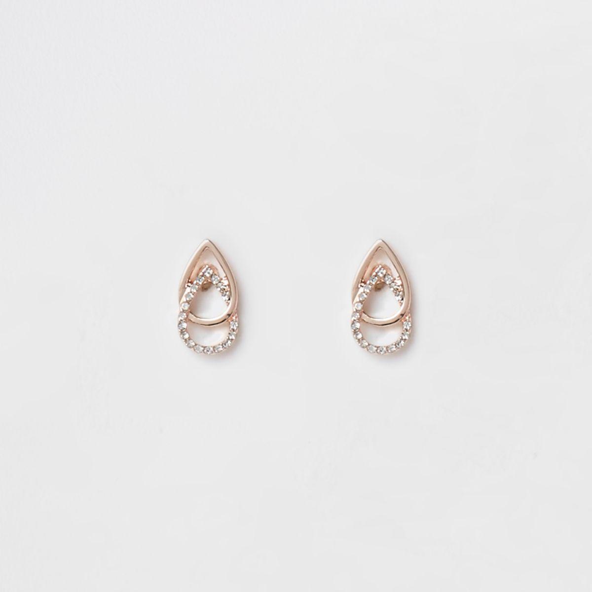 Rose gold tone diamante interlink earrings