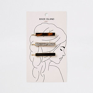 Gold tone hair slide multipack