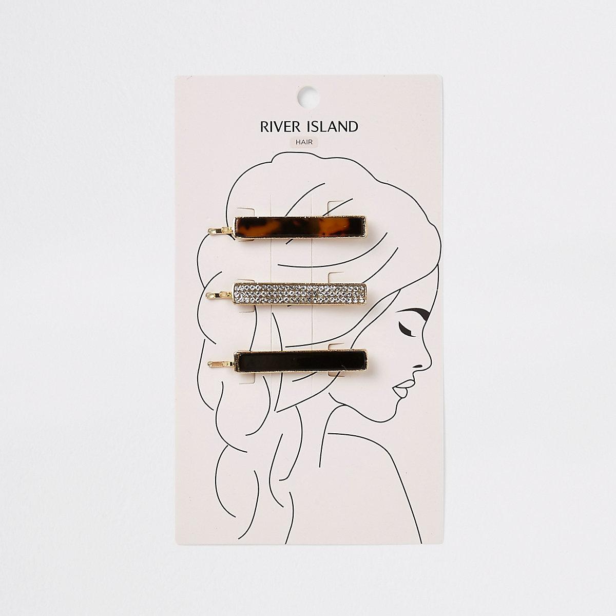 Gold tone hair slide multipack