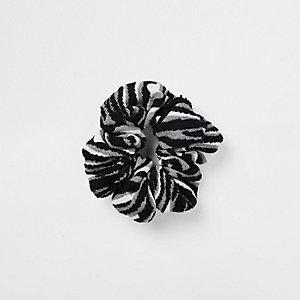 Grey zebra print scrunchie