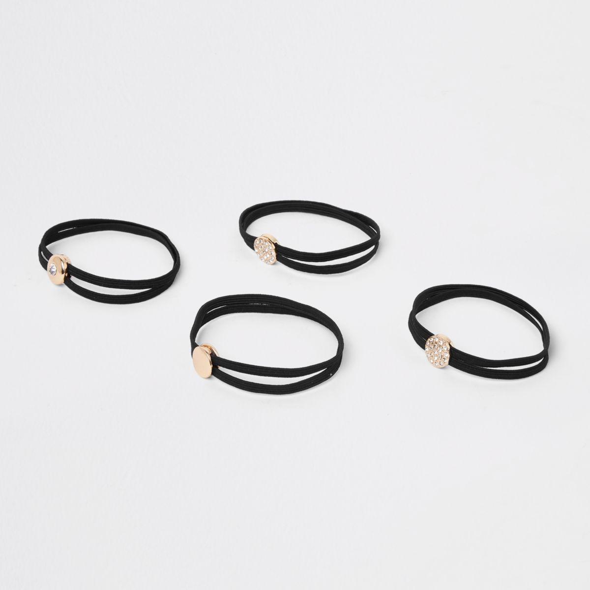 Black studded hair tie pack