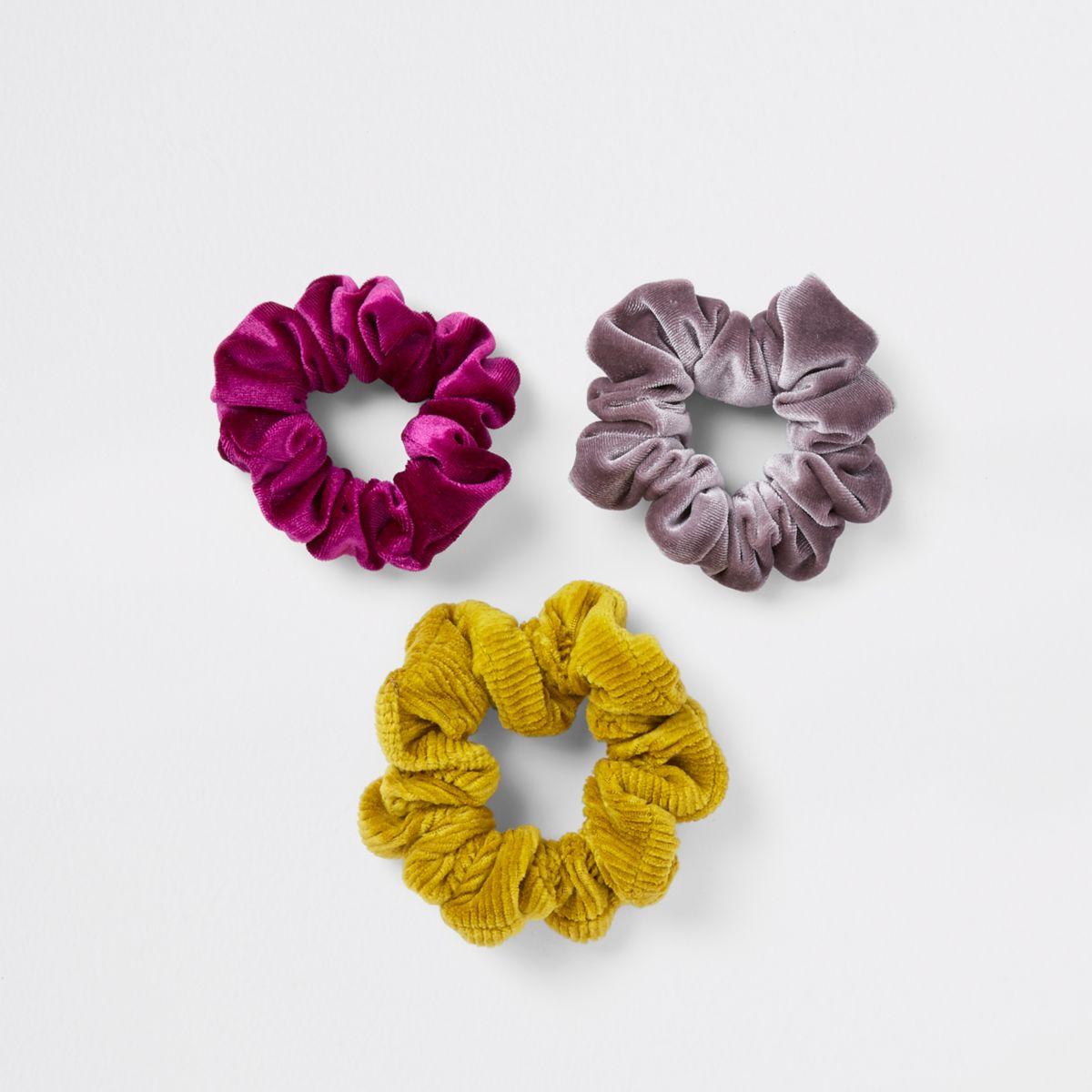 Mixed colour hair scrunchie multipack