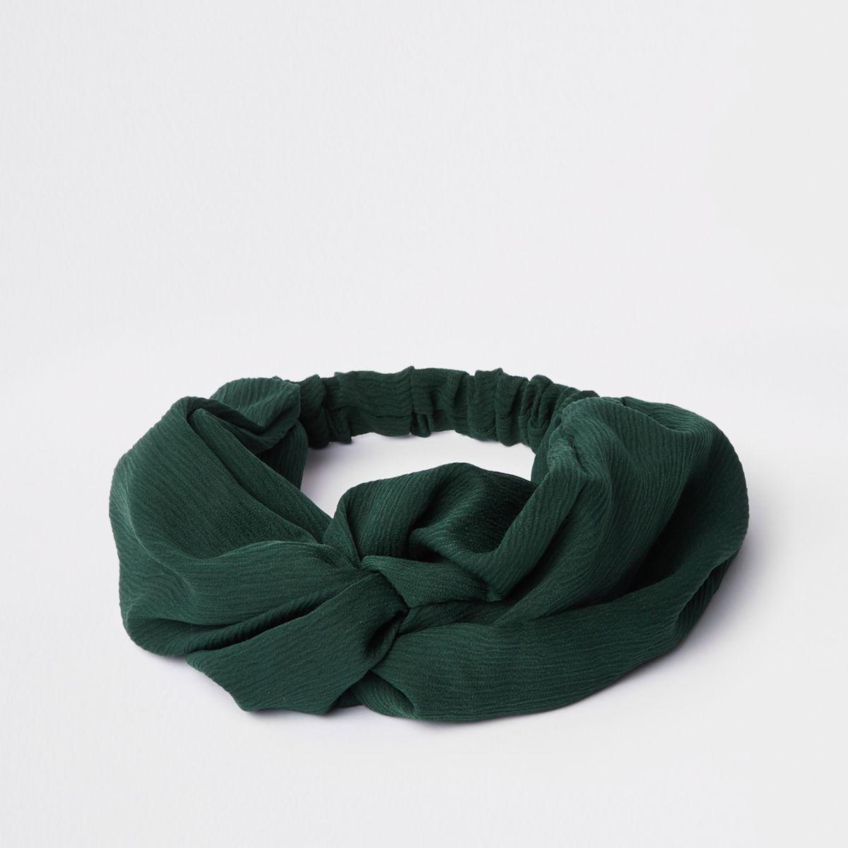 Green wide twist headband