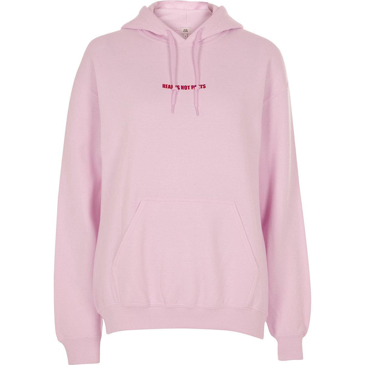 Pink Pride 'hearts not parts' print hoodie